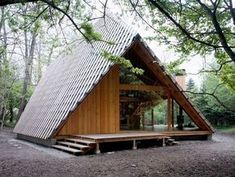 Modern a frame cabin A Frame Cabin, A Frame House, Cabins And Cottages, Log Cabins, Small Cabins, Cabins In The Woods, Little Houses, Tiny Houses, Interior And Exterior