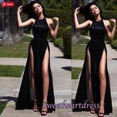 Beaded prom dress, ball gown, elegant black chiffon long prom dress with slits