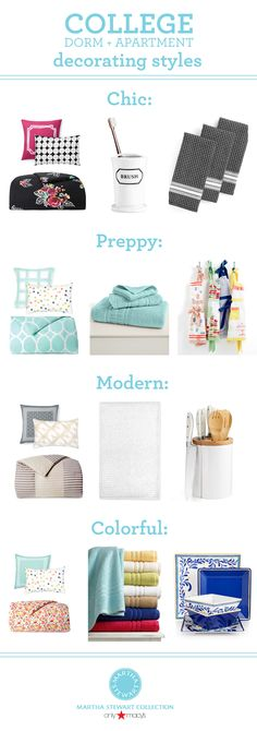 Find college dorm and apartment essentials  for any sense of style from the #MarthaStewartCollection!