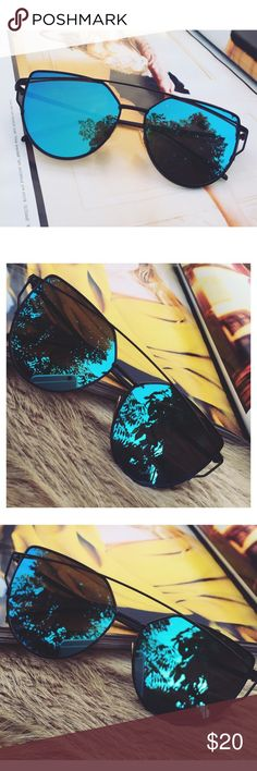 Blue Mirrored Sunglasses Restocked! Cat Eye Aviator Sunglasses. This listing is for a pair of Cat Eye aviator sunshades. Blue Mirrored Sunglasses. Retro. Sunglasses. Wire sunglasses. Trending sunglasses. UV protection. Top quality! Brand new! Accessories Glasses