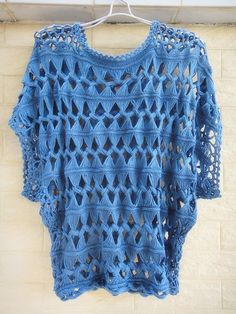 """Fashion Summer Tunic Tops Denim Blue Sheer Blouse Cube Sleeve Hairpin Crochet Pattern Ideal for layering and creating a hippie, indie/ boho chic look, go perfectly with leggins, vest, shirt or even jeans beach cover up made with acrylic cotton measured 20"""" in length, 40"""" in bust"""