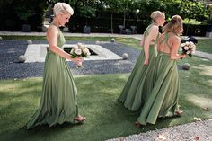 Olive green ballgowns | twobirds Bridesmaid Dresses | A beautiful wedding featuring our multiway, convertible dresses