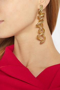 Oscar de la Renta Spiral gold-plated crystal earrings NET-A-PORTER.COM