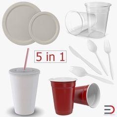 3D Disposable Tableware Model - 3D Model