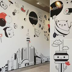 Super cute mural for #papabubble @papabubble_toronto thanks for letting me decorate your wall!   #mural #wall #cute #toronto #skyline #candy #cntower #squirrel #beaver #vectorart #rogerscentre #scotiabank #ltower #stanleycup #bmo #nathanphillipssquare #blogto #picame #art