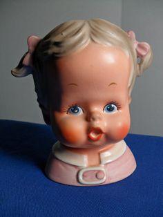 Darling Brinn Baby Girl Head Vase by YourTimelessTreasure on Etsy.
