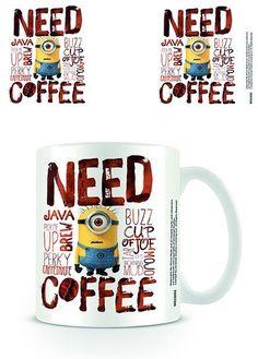 Leuke Minions koffiemok met de tekst 'Need Coffee'.