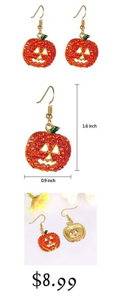 iWenSheng Halloween Pumpkin Earrings Red - Hypoallergenic Crystal Dangle  Earring for Women Girls Kids Holiday Night Costume Jewelry Smiling Face  Pumpkin ... c53678d66b37
