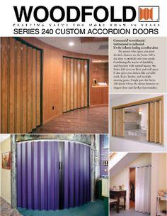 Non-Acoustic Accordion Doors (Canada only) Accordian Door, Accordion Folding Doors, Woodworking Industry, Canada, Natural Wood, Garage Doors, Outdoor Decor, Hardware, Decoration