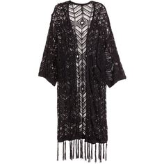 H&M Lace cardigan with fringes ($9.11) ❤ liked on Polyvore featuring tops, cardigans, short sleeve cardigan, lace top, black fringe cardigan, black top y lace cardigan