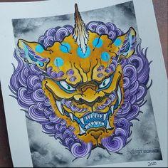 Foo Dog Tattoo Design, Tattoo Designs, Asian Tattoos, Tribal Tattoos, Lion Dragon, C Tattoo, Chrysanthemum Tattoo, Fu Dog, Japan Tattoo