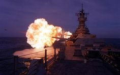 USS Missouri (BB-63) mid fire.