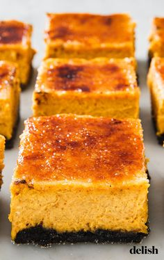 Pumpkin Crème Brûlée Cheesecake Bars Are The Thanksgiving Dessert NO ONE Will Stop Talking AboutDelish Creme Brulee Cheesecake Bars, Pumpkin Cheesecake, Cheesecake Recipes, Dessert Recipes, Cheesecake Cupcakes, Dessert Bars, Creme Dessert, Pumpkin Creme Brulee, Christmas Cheesecake