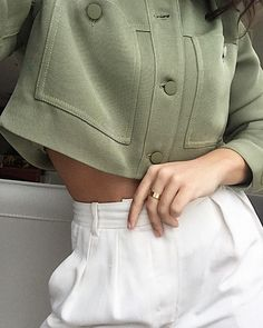 That green light, we want it. - in Oursen Jacket by Le Fou Wilfred Beecroft Pant by The Group by Babaton - Embroidered Sweatshirts, Ootd Fashion, White Shorts, Mini Skirts, Menswear, Feminine, Fitness, Jackets, Pants