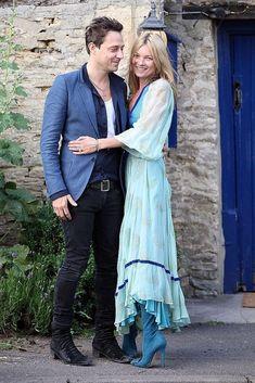 Kate Moss Wedding Rehearsal Dinner, Vintage Dress, Roger Vivier boots #rogerviviervintage #rogervivierwedding