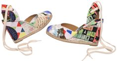 """Mother was a pirate, father was a castaway, Macando is her favourite hide-a-way … CELIA.Limited edition printed cotton canvas """"Memorias"""" fabric upper, foot bed and covered 3 ½ inch wedge on jute espadrille ½ inch platform. Total height at heel [...]"""