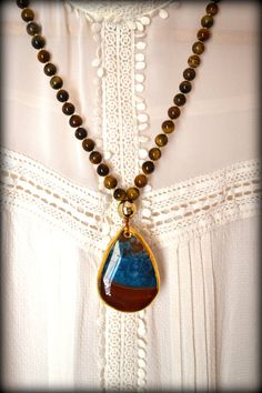 Big Agate Pendant, Agate Necklace, Blue Agate Necklace, Large Agate, Long Necklace