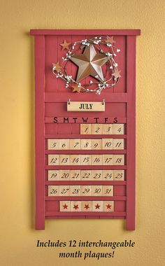 Perpetual monthly wooden calendar by lauraellensshop on etsy my grandma had one of these when i - Wooden perpetual wall calendar ...