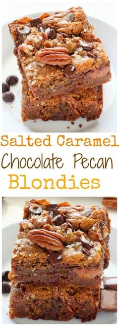 Salted Caramel Chocolate Pecan Brown Butter Blondies - Thick, chewy, and irresistible!