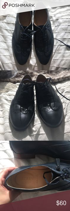 J. Crew Navy leather loafers size 8 Gorgeous navy leather oxfords with little tassel laces. made in Italy. Wore once in store. J. Crew Shoes Flats & Loafers