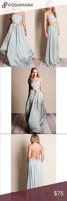 LA-CUT OUT MAXI DRESS-SAGE Get it while you can this amazing sage cut out maxi dress. It is 100% polyester and fits true to size. Model is wearing a size small. Pre-order latest should be delivered is Friday! Dresses Maxi
