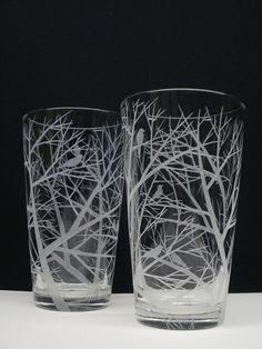 2 Pint Glasses  Engraved 'Reaching Branches by daydreemdesigns, $58.00