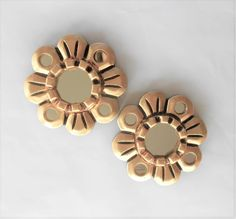 """4.75"""", Mirrors Gold, Pair of Round Mirrors, Small Wall Mirrors, Gold Leaf Mirrors, Decorative Mirrors, Gold Frame Mirrors, Flower Mirrors by GoldLeafGirl on Etsy"""