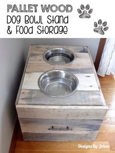 Pallet Wood Dog Bowl Stand U0026 Food Storage U2013 Handmade On Half Street