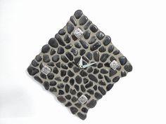"Black Stone Angled Tile Clock. 16"" x 16"". $45.00, via Etsy."