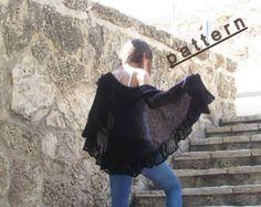 Knit Shawl Pattern Knitted Wrap Tutorial Pattern Handmade Shawl easy knit shawl Lace shawl pattern Women's Scarf knit wrap pattern