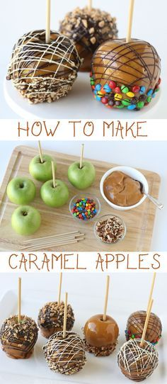 Few desserts are more closely associated with fall than caramel apples. Tart, crisp apples and sweet, chewy caramel make such a delicious pair! These classic fall treats are quite easy to make, and yield impressive results. Dress up your caramel apples Bon Dessert, Dessert Aux Fruits, Oreo Dessert, Apple Recipes, Fall Recipes, Holiday Recipes, Holiday Desserts, Fall Treats, Holiday Treats