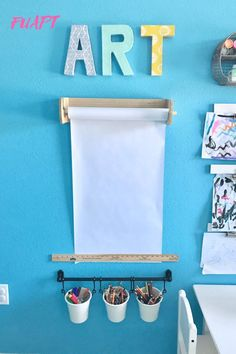 Tips for Making a Creative Kids Art Station by From Under a Palm Tree Kids Art Corner, Kids Art Area, Kids Art Station, Craft Station, Kids Room Art, Art For Kids, Kids Art Space, Creative Kids Rooms, Playroom Storage