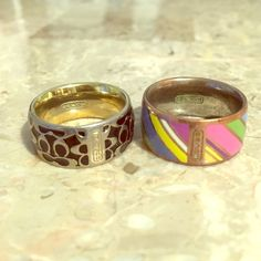 Authentic Coach Rings: Set of 2!! 2 Coach rings fit a size 7.5 -8 finger. They have been used, but still in good condition. This offer is for both but if your interested in only one just let me know!  Coach Jewelry Rings
