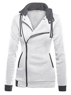 DJT Womens Oblique Zipper Slim Fit Hoodie Jacket Large Light Grey Machine wash, Cold Functional collared neck,long sleeve Hooded with interior drawcord Oblique zipper closure Contrast side pockets and cuffs,chest mock pocket for decoration only Hoodie Sweatshirts, Look Fashion, Winter Fashion, Cheap Fashion, Affordable Fashion, Slim Fit Hoodie, Jackets For Women, Clothes For Women, Hoodie Jacket