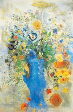 """Odilon Redon """"Grand Bouquet"""", his largest pastel painting that was recently acquired from an old chateau in France. Art Floral, Odilon Redon, True Art, French Artists, Lovers Art, Painting Inspiration, Fantasy Art, Illustration Art, Paintings"""