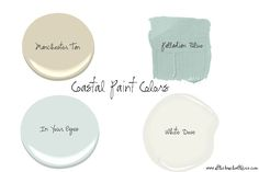 Coastal Paint Colors from Benjamin Moore (Manchester Tan, Palladian Blue, In Your Eyes and White Dove)