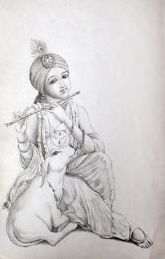 Radha Krishna Sketch, Krishna Drawing, Krishna Painting, Krishna Art, Radhe Krishna, Pencil Art Drawings, Art Drawings Sketches, Easy Drawings, Pencil Sketching