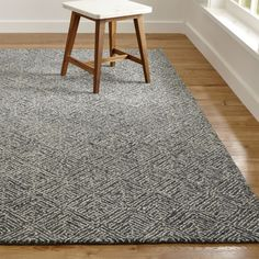 Sale ends soon. Shop Curtis Indigo Blue Geometric Rug The intricacy of parquet floors inspired Genevieve Bennett's geometric repeat pattern, softened by the use of looped yarns. Wall Carpet, Diy Carpet, Rugs On Carpet, Stair Carpet, Carpet Decor, Beige Carpet, Patterned Carpet, Modern Carpet, Carpet Trends