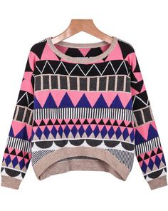 Happy Stripes Knitwear Shirt Geometric Print Crop Pullovers Sweater Pink Purple #Unbranded #Cardigan