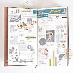 Last week in my Midori Traveler's notebook. I've been sick all week and I'm still recovering. To decorate these pages I've used stamps (some from @_sakuralala_), washi, and stickers.