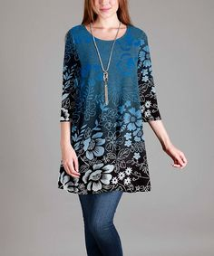 Look what I found on #zulily! Simply Aster Blue & Black Floral Round Neck Three-Quarter Sleeve Tunic by Simply Aster #zulilyfinds