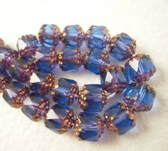 25 Czech Glass Beads Sapphire Blue Faceted by EthnicBeadShop