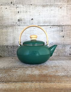 Teapot Enamel Teapot Mid Century Metal Teapot with Wood Handle Tea Kettle Retro Teapot Mid Century Kitchen Decor Green Teapot by TheDustyOldShack on Etsy