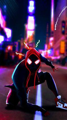 Miles Morales - Ultimate Spider-Man, Into the Spider-Verse Amazing Spiderman, Black Spiderman, Spiderman Art, Wallpaper Animé, Handy Wallpaper, Flash Wallpaper, Hero Marvel, Marvel Art, Marvel Comics