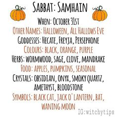 Samhain correspondences! 🍂✨ Green Witchcraft, Wiccan Witch, Wicca Witchcraft, Magick, Wiccan Sabbats, Paganism, Samhain Halloween, Witchcraft For Beginners, Eclectic Witch