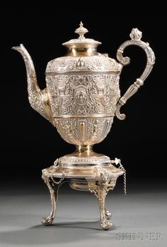 Victorian Silver plated Tea Kettle on Stand - Skinner European Furniture & Decorative Arts