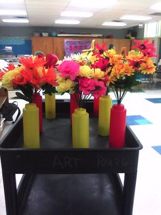 centerpieces I made for a Staff Appreciation bbq...so easy and so cheap!