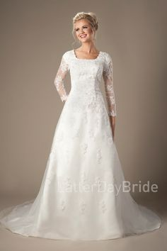 Murphy | Modest Wedding Dresses | LDS bride | Lace | LatterDayBride & Prom | SLC | Utah | Worldwide Shipping |  Gown available in Ivory or White.    *Gown pictured in Ivory.