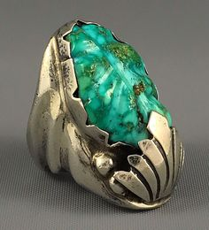 36g GIANT C.1950s Zuni Sterling CARVED LEAF Water Web Turquoise MENS Ring Sz 9.5