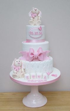 Pretty in Pink ~ little Girls Christening - Cake by The Buttercream Pantry: